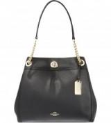 COACH Edie Black leather shopper – chic shoulder bags – stylish handbags