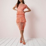 River Island Coral lace tiered frill midi dress ~ semi sheer short sleeve dresses ~ garden party fashion ~ summer occasion dresses