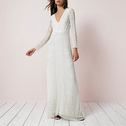 River island cream sequin long sleeve maxi dress for Long sleeve sequin wedding dress
