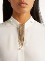 LANVIN Crystal-embellished fringed brooch ~ large fringe statement brooches ~ designer fashion jewellery