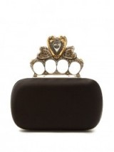 ALEXANDER MCQUEEN Crystal-embellished heart satin knuckle clutch ~ bling evening bags ~ statement handbags