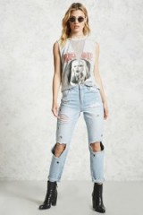 Forever 21 Distressed Grommet Jeans