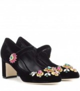DOLCE & GABBANA Crystal-embellished Mary Jane pumps ~ black velvet jewelled Mary Janes ~ statement shoes ~ luxe crystal embellishments ~ mid heel