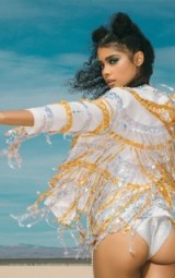 Pretty Little Thing ELLIE WHITE SEQUIN FRINGED JACKET ~ gold and silver fringe jackets ~ summer festival clothing