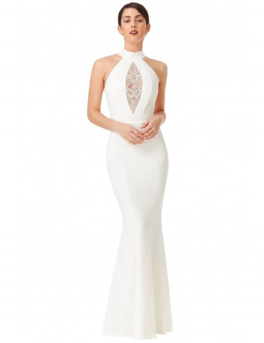 GODDIVA Embellished High Neck Maxi Wedding Dress in White ~ keyhole back wedding dresses ~ affordable bridal gowns ~ elegant ~ fitted
