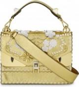 FENDI Kani I Special Gold metallic leather shoulder bag – luxe top handle bags – luxury handbags – floral applique embellished shoulder bags