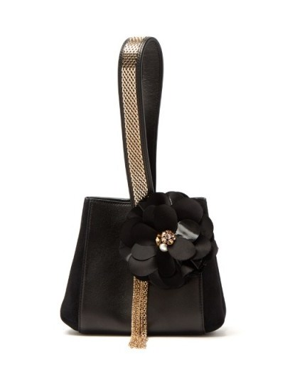 LANVIN Flower-appliqué black leather and suede clutch ~ beautiful bags ~ luxury designer handbags ~ occasion accessories ~ style statement - flipped