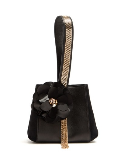 LANVIN Flower-appliqué black leather and suede clutch ~ beautiful bags ~ luxury designer handbags ~ occasion accessories ~ style statement
