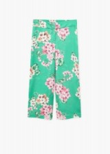 MANGO Flowy floral trousers ~ green pajama style pants ~ satin style trouser ~ flowy summer fashion