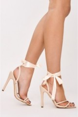 in the style FONTEYN NUDE PU RIBBON TIE HEELS, high heels, barely there sandals, ankle ties, stiletto heeled shoes, strappy