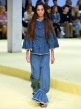 Marques'Almeida Ruffled Frayed Low-Rise Flared Jeans