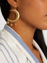 MARTE FRISNES Freya gold-plated earring ~ large statement single earrings ~ moon and stars jewellery