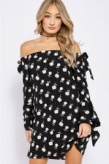 GENEVA BLACK FLORAL BARDOT SLEEVE DRESS ~ off the shoulder dresses