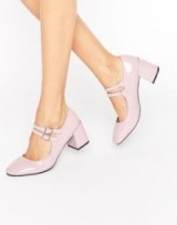 Glamorous Mary Jane Dusty Pink Patent Mid Heeled Shoes ~ double strap Mary Janes ~ chunky heel shoes ~ mid block heels