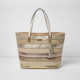 River Island Gold metallic woven straw beach tote bag ~ summer holiday bags ~ stylish shopper ~ chic shoppers