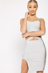 in the style GRAZIELLA GREY CUT OUT WAIST BANDAGE DRESS, going out bodycon dresses, fitted party fashion, strappy style