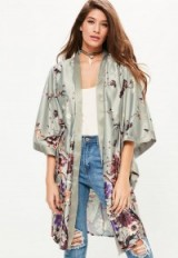 MISSGUIDED grey oriental printed kimono sleeve duster jacket. Long lightweight coats | silky jackets | kimonos