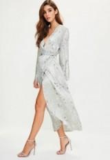 MISSGUIDED grey silky floral kimono midi dress. Silky wrap dresses   oriental style fashion   flower print