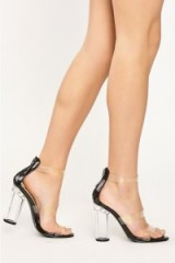 in the style HADDIE BLACK TRIPLE CLEAR STRAP HEELS, transparent barely there sandals, see-through shoes, strappy high heels