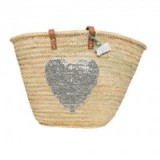 Le Papillon Vert French Basket: Emma Heart ~ sequin embellished baskets ~ summer bags ~ holiday beach accessories