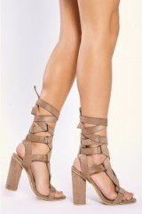 in the style JACKSON MOCHA BUCKLE WRAP STRAP HEELS, high block heel sandals, brown strappy chunky heeled shoes, ankle straps