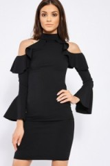 in the style KAIDENCE BLACK FRILL DETAIL BODYCON DRESS, chic lbd, evening cold shoulder dresses, high neck party fashion, fitted going out dresses
