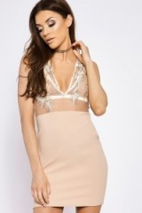 in the style KALEAH NUDE FLORAL EMBROIDERED MESH PLUNGE DRESS, fitted going out dresses, bodycon party fashion