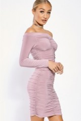 in the style KARRIE LILAC SLINKY RUCHED BARDOT BODYCON DRESS, off the shoulder evening dresses, fitted party fashion, going out glamour, glamorous style