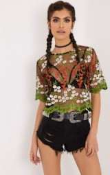 LOREN BLACK EMBROIDERED TOP ~ sheer tops