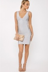 in the style Premium Collection LUANA GREY PLUNGE FRONT BANDAGE DRESS, luxe style bodycon dresses, fitted going out fashion, glamorous evening wear, plunging neckline