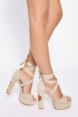 in the style MELLISSA NUDE FAUX SUEDE EMBROIDERED TIE PLATFORM HEELS, statement shoes, high heels, platforms