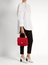 MANSUR GAVRIEL Metropolitan top-handle red satin grosgrain bag ~ chic handbags ~ designer bags