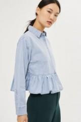 MOTO Frill Hem Shirt. Light blue denim shirts | peplum hem | frill hemline tops | casual fashion