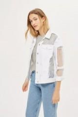 MOTO White Oversized Organza Denim Jacket. Semi sheer jackets | casual fashion