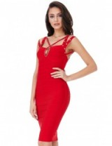 GODDIVA Red Multi Strap Bandage Dress with Diamante Detail ~ strappy bodycon dresses ~ party fashion ~ date night ~ evening wear