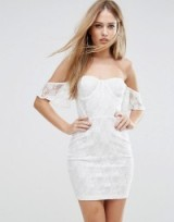NaaNaa Off Shoulder Lace Bodycon Dress With Corset Detail, white bardot mini dresses, fitted going out fashion