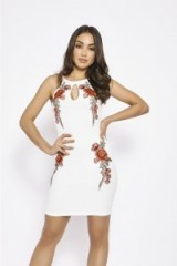 in the style NATAJLA WHITE FLORAL APPLIQUE BODYCON DRESS, sleeveless going out dresses, fitted evening fashion