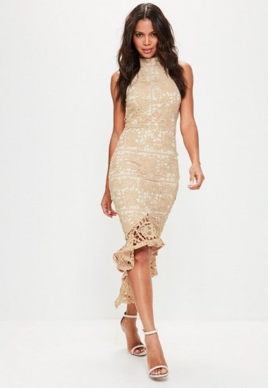 Missguided nude lace high neck fishtail midi dress – sleeveless party dresses - flipped