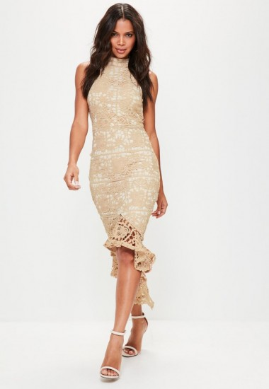 Missguided nude lace high neck fishtail midi dress – sleeveless party dresses