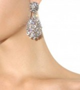 OSCAR DE LA RENTA Crystal-embellished clip-on earrings ~ large statement drop earrings ~ bling jewellery