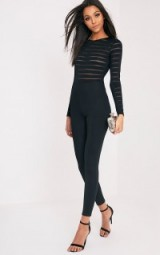 POLLY BLACK BURN OUT MESH JUMPSUIT ~ long sleeve semi sheer jumpsuits ~ fitted going out fashion