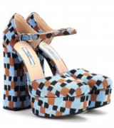 PRADA Round toe Mary Jane pumps ~ blue, brown and black jacquard design Mary Janes ~ block heel platform shoes ~ high chunky heels ~ luxury platforms ~ 70s style footwear