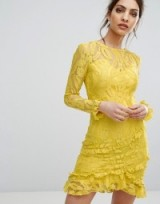 PrettyLittleThing Lace Asymmetric Frill Detail Bodycon Dress, yellow frilly evening dresses, pretty party fashion, feel like a princess, little ruffles, fitted occasion wear