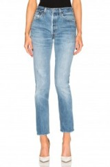 RE/DONE HIGH RISE. Blue denim jeans | button fly