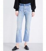 RE/DONE Slim-fit cropped denim jeans Denim Patch. Blue crop leg jeans | frayed hem | distressed | faded