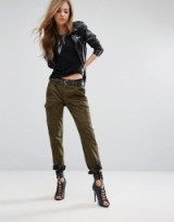 Religion Faux Suede Military Trousers Khaki. Women's green army pants   casual fashion   side pockets   tapered leg