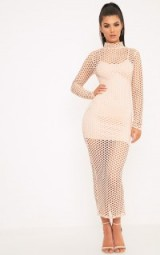 SALIA NUDE FISHNET MIDAXI DRESS ~ semi sheer going out dresses
