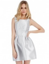 GODDIVA Silver Sleeveless Skater Dress ~ structured fit and flare party dresses ~ cocktail parties ~ evening fashion