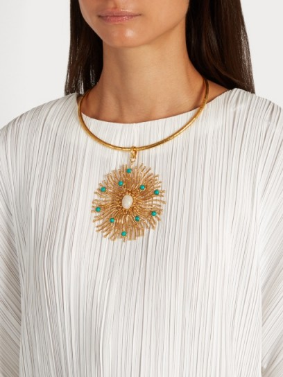 SYLVIA TOLEDANO Solar gold-plated necklace ~ large statement necklaces ~ turquoise stone jewellery ~ round pendants