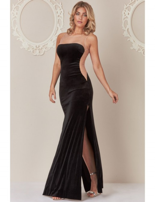 tephanie Pratt – Open Back Velvet Maxi Dress with Nude Mesh Detail ~ long occasion dresses ~ glamorous evening wear ~ side thigh high slit gowns